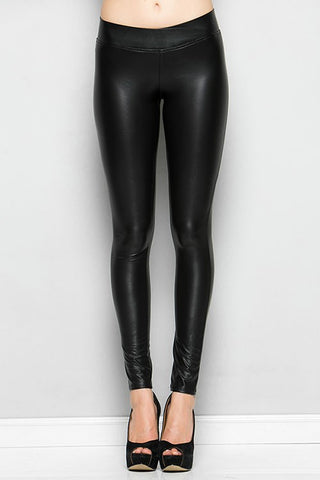 CY Faux Leather Leggings - Black