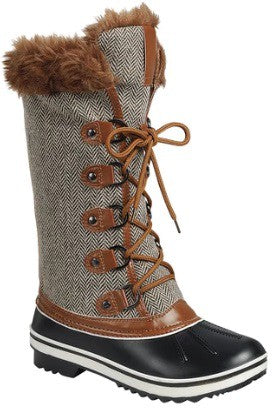 High Top Fur Trimmed Lace Up Boots - Tan