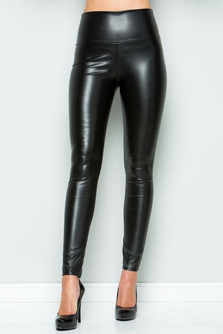 CY High Waist Faux Leather Leggings - Black