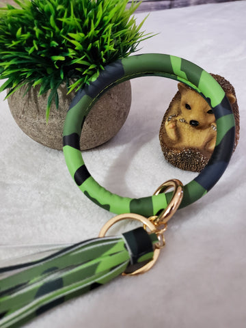 Leather Tassel Key Ring Bangle - Green Camo