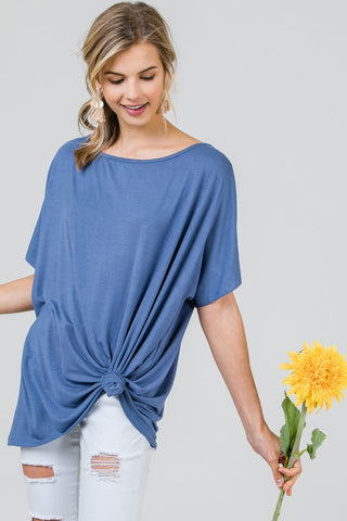 Axis Boat Neck Tunic Top - Denim Blue