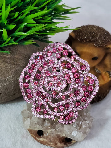 Giant Crystal Rose Ring - Pink