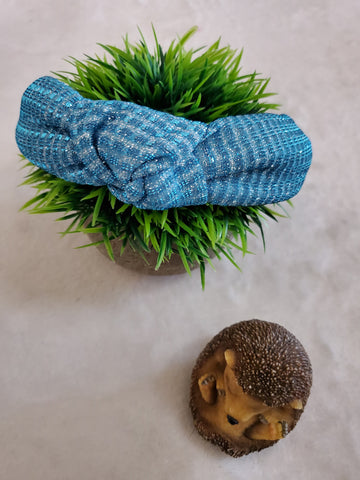 Glitter Top Knot Headband - Aqua