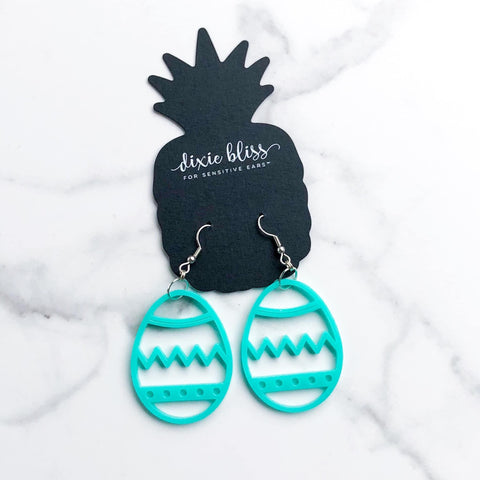 Dixie Bliss Easter Egg Dangle Earrings - Aqua