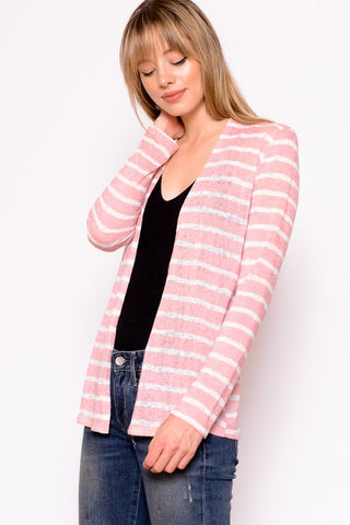 Chris & Carol Soft Knit Striped Cardigan - Pink