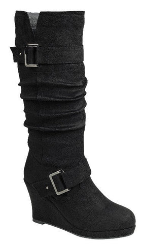 Buckle Strap Knee High Wedge Boots - Black