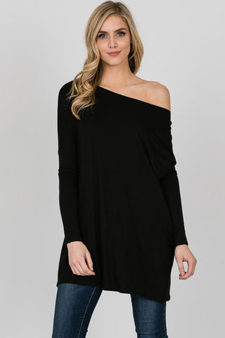 Axis Long Sleeve Boat Neck Tunic Top - Black