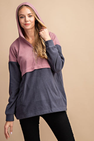 FSL Colorblock Hoodie Pullover - Mauve