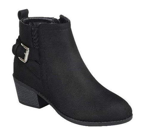 Buckle Up Suede Ankle Booties - Black