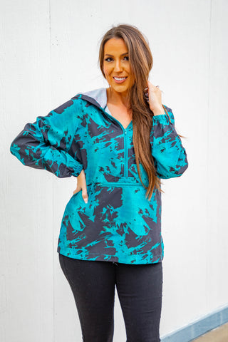 L&B Tie Dye Windbreaker Jacket - Teal