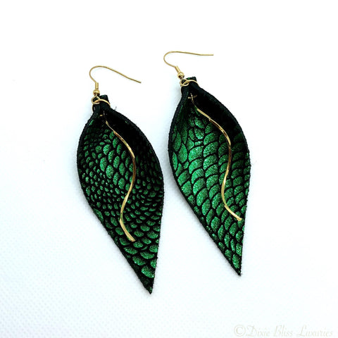 Dixie Bliss Leather Dangle Earrings - Green