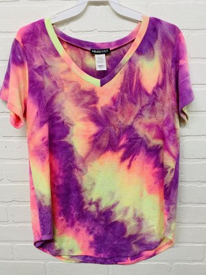 Heimish Tie Dye V-Neck Top - Purple Multi