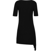 Black wool-side-drape-tunic