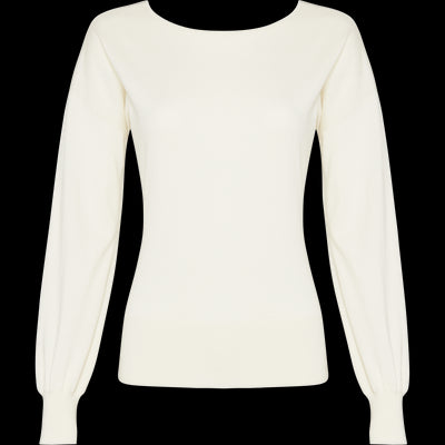 White faux-wrap-front-to-back-pullover