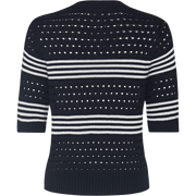 Black and White striped-jewel-neck-pullover