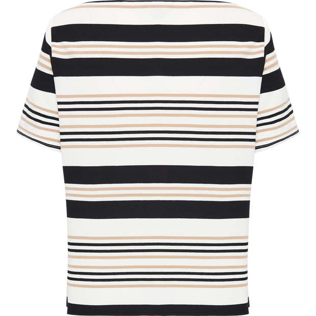 White Navy String Yarn Dyed Stripe Jersey Boatneck Tee
