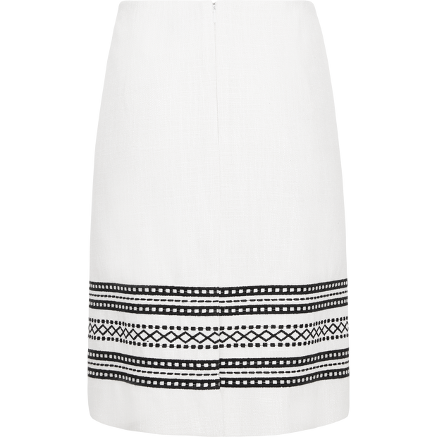 White embroidered-matka-pencil-skirt