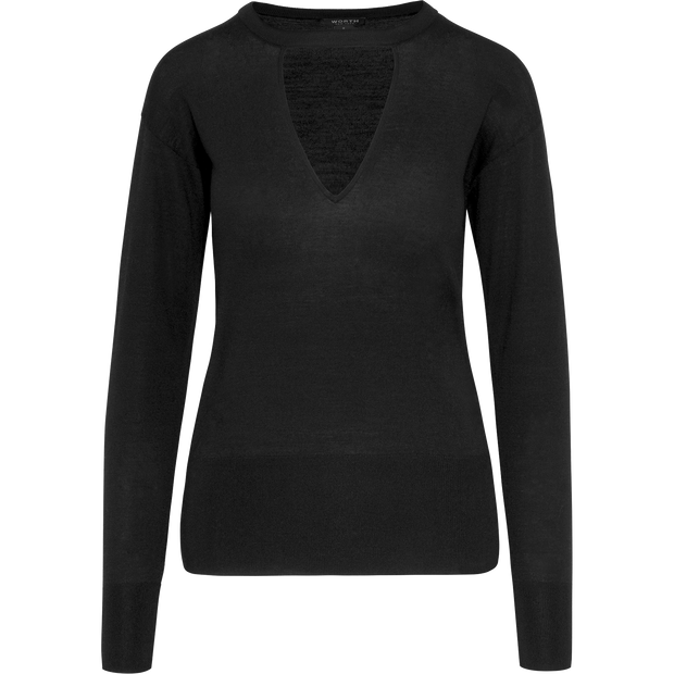 Midnight XS Triangle Cutout Jewel Neck Pullover Sweaters Worth New York Worth Collection