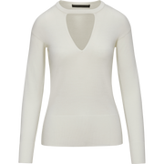 Ivory XS Triangle Cutout Jewel Neck Pullover Sweaters Worth New York Worth Collection