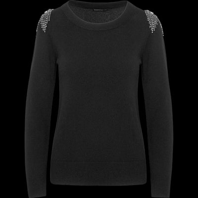 Stone Crystal Embellished Shoulder Pullover-Sweaters-Worth New York-Midnight-XS-Worth Collection