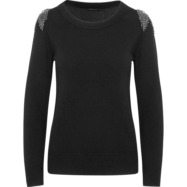 Midnight XS Stone Crystal Embellished Shoulder Pullover Sweaters Worth New York Worth Collection