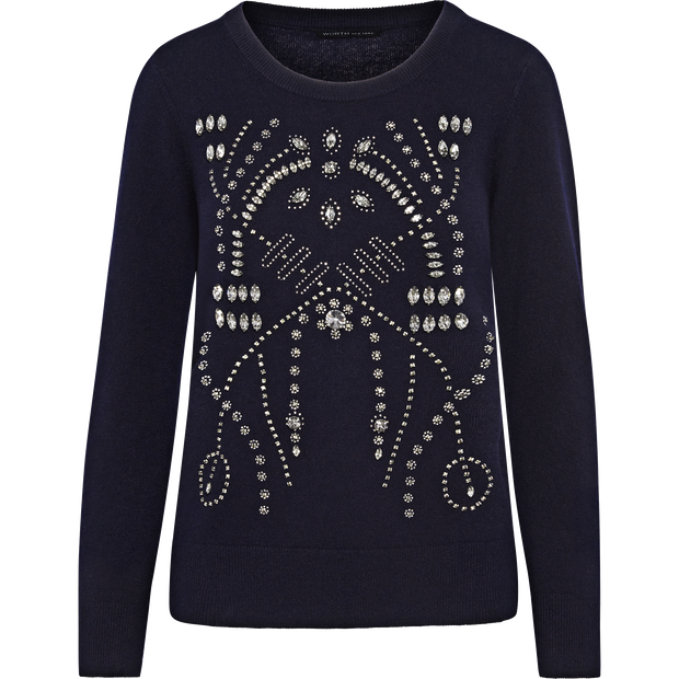 Sapphire XS Stone Crystal Embellished Pullover Sweaters Worth New York Worth Collection