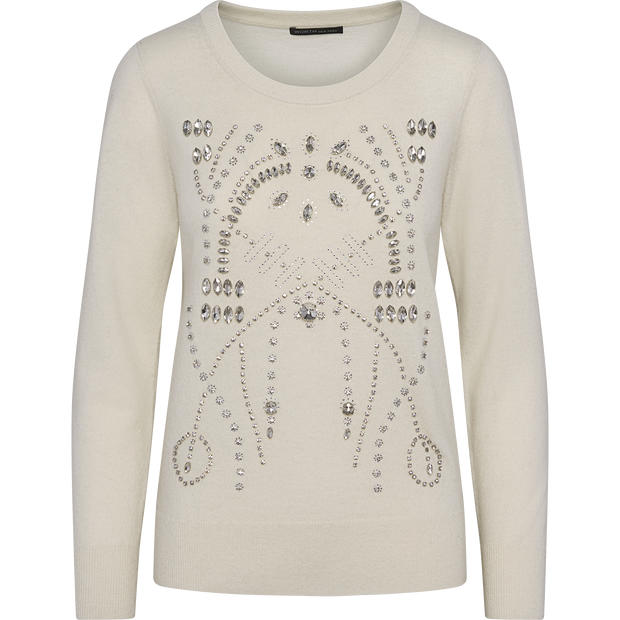 Ivory XS Stone Crystal Embellished Pullover Sweaters Worth New York Worth Collection