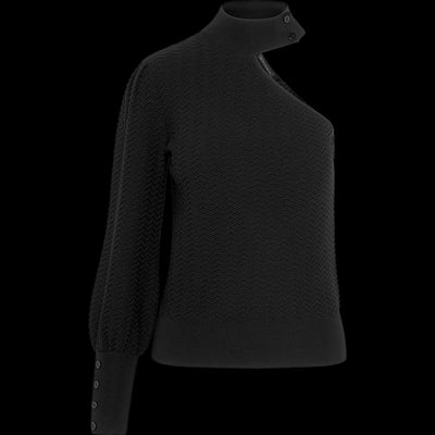 One Shoulder Pullover-Sweaters-Worth New York-Midnight-XS-Worth Collection