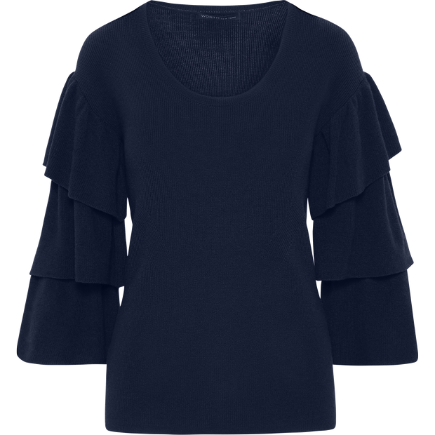 Ruffle Sleeve Pullover-Sweaters-Worth New York-Sapphire-XS-Worth Collection