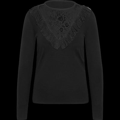 Lace Trimmed Pullover-Sweaters-Worth New York-Midnight-XS-Worth Collection