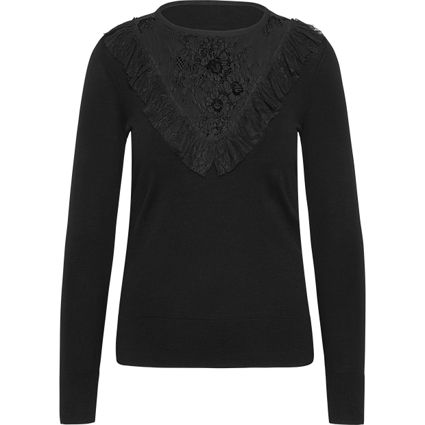 Midnight XS Lace Trimmed Pullover Sweaters Worth New York Worth Collection
