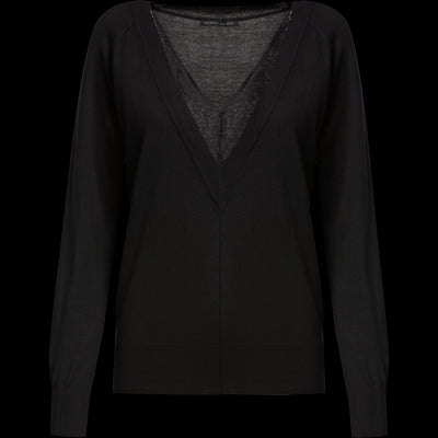 XS Midnight V Neck Lace Trim Pullover Sweaters Worth New York Worth Collection