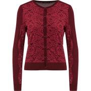 XS Burgundy Lace Cardigan Sweaters Worth New York Worth Collection