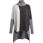 SM Heather Grey Color Block Recycled Cashmere Poncho Sweaters Worth New York Worth Collection