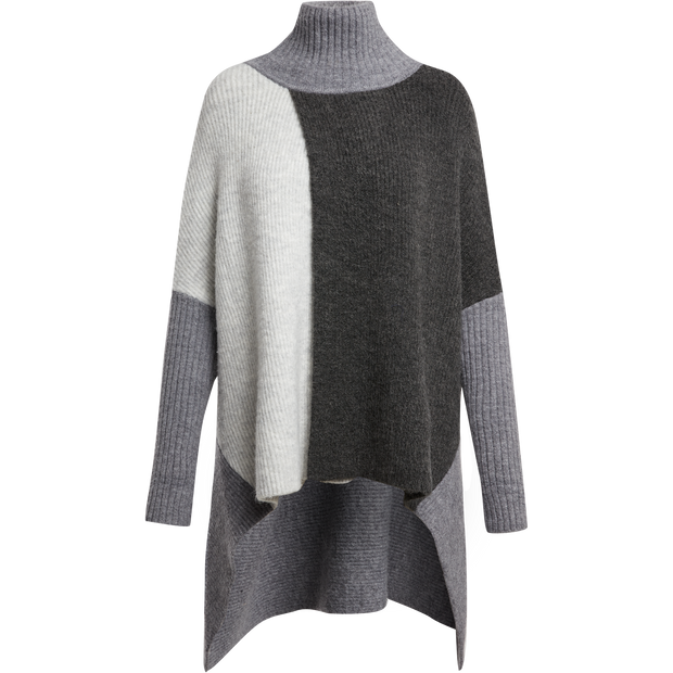 Recycled Cashmere Poncho-Sweaters-Worth New York-SM-Heather Grey Color Block-Worth Collection