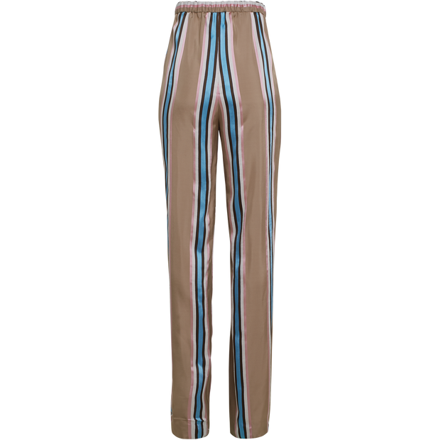 back of Camel Peony Pink Blue Santa Barbara Pant Worth New York Worth Collection