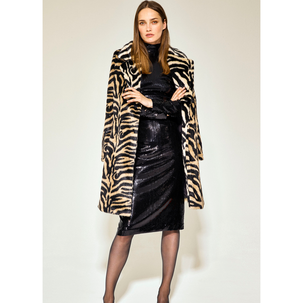 Worth New York Zoey Coat ${description} $998.00 Available in: Size XS Color Neutral Black Faux Zebra