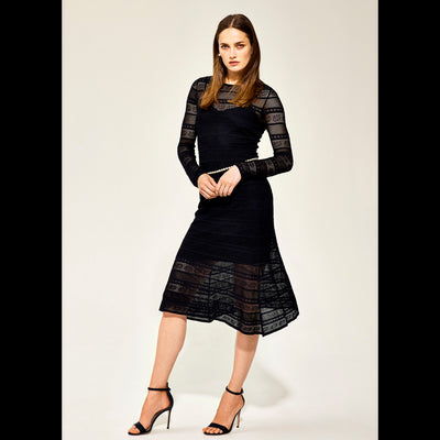 XS Midnight Lace Stitch Knit Dress Dresses Worth New York Worth Collection