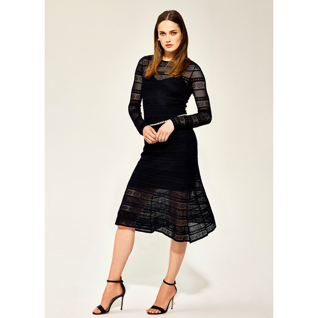 Worth New York Lace Stitch Knit Dress ${description} $698.00 Available in: Size XS Color Black