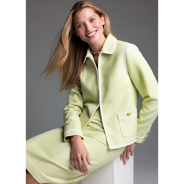 Key Lime White Mila Jacket Worth New York Worth Collection on model
