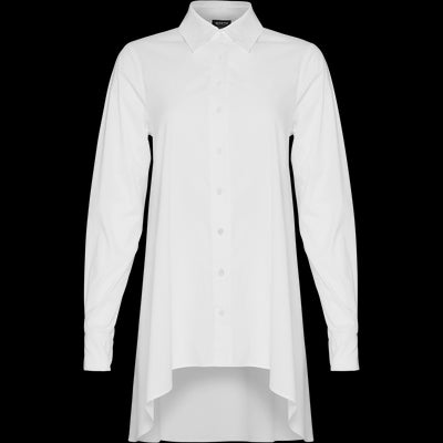 White stretch-cotton-button-up-tunic