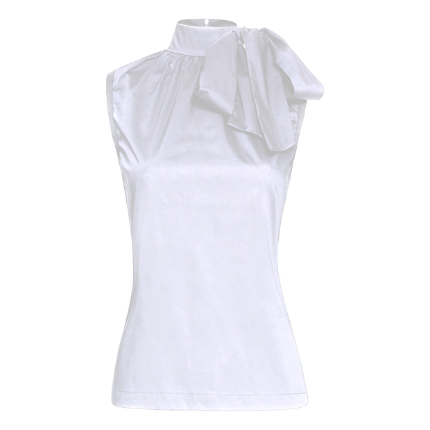 White stretch-cotton-sleeveless-top