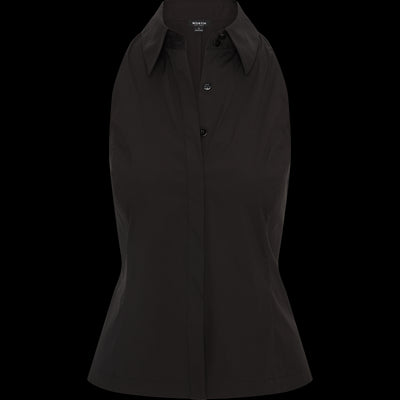 Black stretch-cotton-button-up-top
