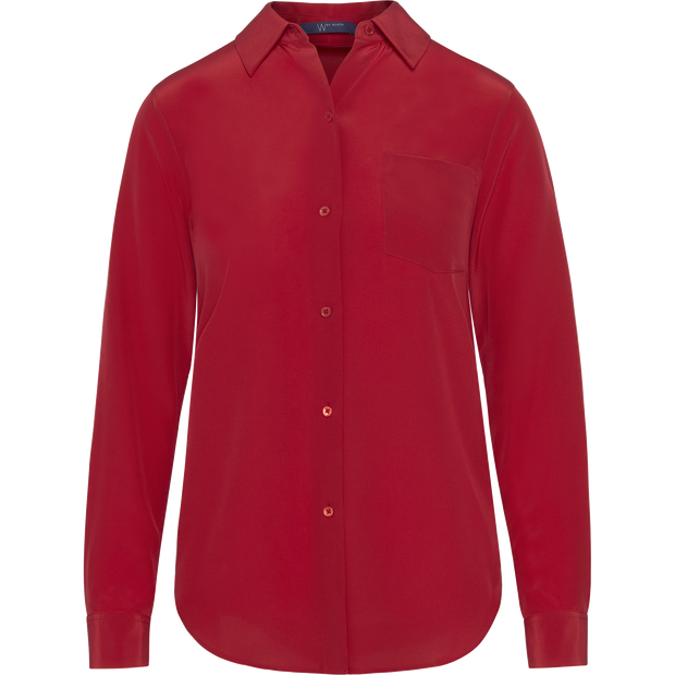 Classics by Worth Silk Crepe de Chine Alexis Blouse ${description} $149.00 Available in: Color Classic Red Size MD