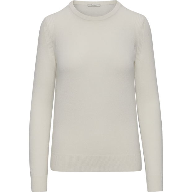 Ivory XS Cashmere Jewel Neck Pullover Sweaters Classics by Worth Worth Collection