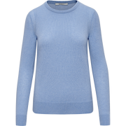 Periwinkle XS Cashmere Jewel Neck Pullover Sweaters Classics by Worth Worth Collection