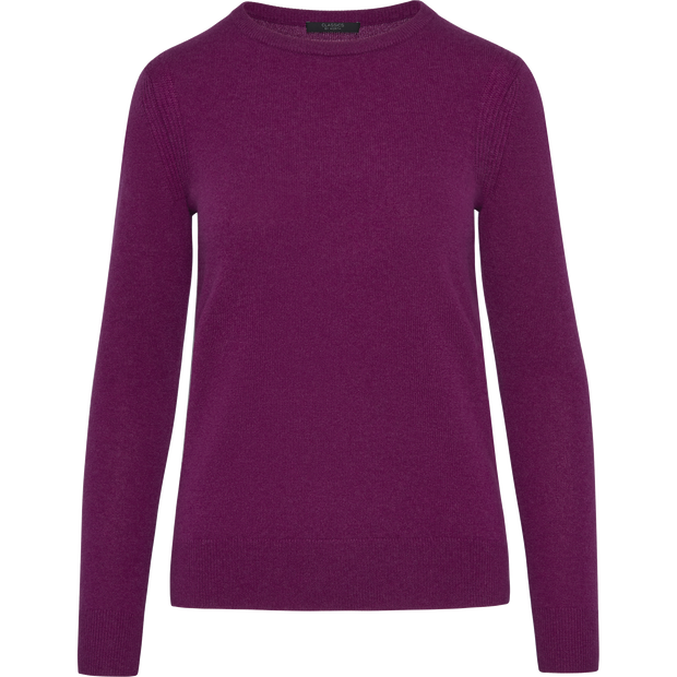 Fuchsia XS Cashmere Jewel Neck Pullover Sweaters Classics by Worth Worth Collection