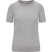 Heather Grey XS Cashmere Short Sleeve Pullover Sweaters Classics by Worth Worth Collection