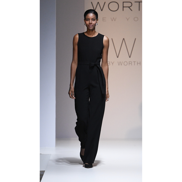 Black Stretch Acetate Marty Jumpsuit on model