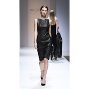 Black Leather Talia Dress on model